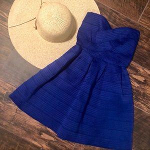 NWT Sans Souci Royal Blue Strapless A-Line